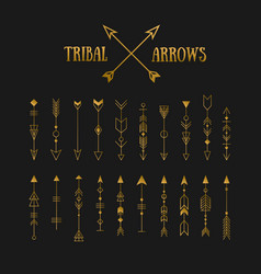 set of gold hipster tribal arrows on chalkboard vector image