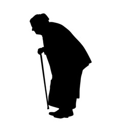 silhouette of a old woman with cane vector image