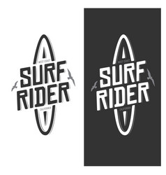 surf rider lettering poster vintage vector image vector image
