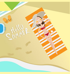 Tourist woman lying on beach top angle view hello vector
