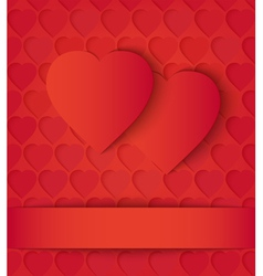 Two paper hearts card on red vector
