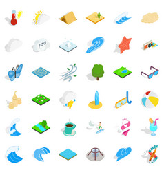 Water in nature icons set isometric style vector