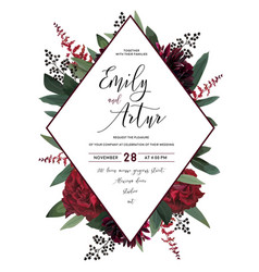 Wedding floral invitation save the date car vector