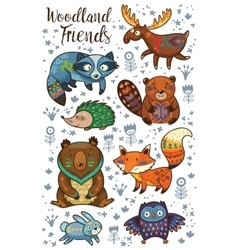 Woodland tribal animals set vector