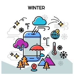 Winter line banners vector