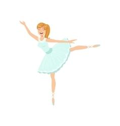 Balleria in blue tutu performing vector
