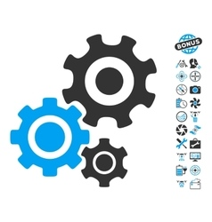 Gear mechanism icon with copter tools bonus vector