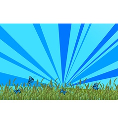 A garden with blue butterflies vector