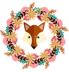 Fox and floral wreath separated vector