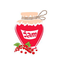 Jar of red currant jam vector