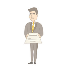 Young caucasian businessman holding a contract vector