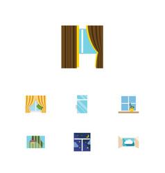 Flat icon window set of curtain flowerpot glass vector