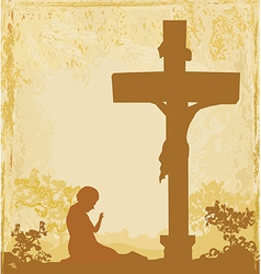 prayers by the cross grunge background vector image