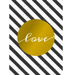 Black and white stripes gold circle love card vector