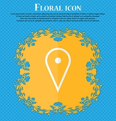 Map poiner floral flat design on a blue abstract vector