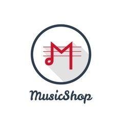 Flat modern minimalistic music shop or vector