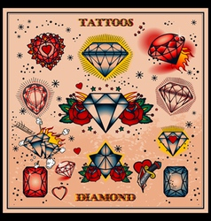 Diamond tattoos vector
