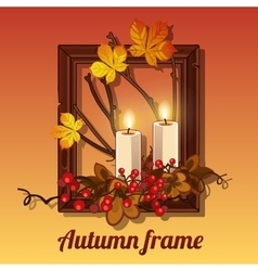 Autumn still life in a frame for picture vector