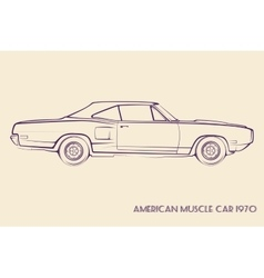 American muscle car silhouette 70s vector
