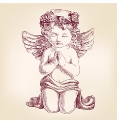 Angel prays on his knees hand drawn vector