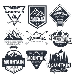 Set of mountain labels in vintage style vector