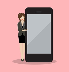 Business woman pointing to the screen of a vector
