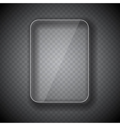 Glass frame rectangular button on checkered vector