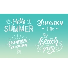 Summer hand lettering set summer logos and vector