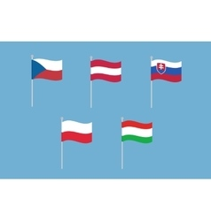 National flags of czech republic austria vector