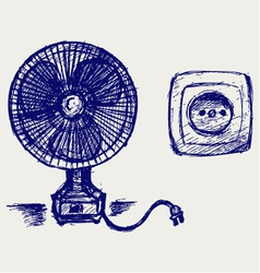 Electric fan and socket vector image