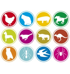 animals icons buttons-animal icons set vector image vector image