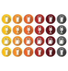 Beer glasses different types icons - lager pilsne vector image vector image