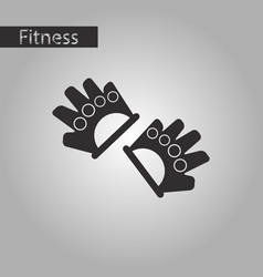 Black and white style icon gloves for the gym vector