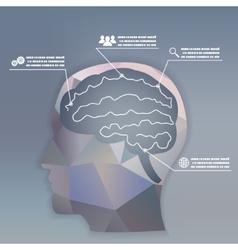 Businessman brain headmind social network media vector