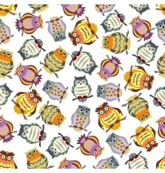Cartoon colorful owls seamless pattern background vector image