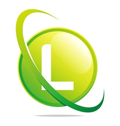 circle globe round letter l green abstract vector image vector image