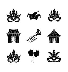 Circus carnaval icons set vector