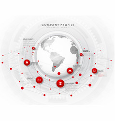 Company profile overview template with red vector