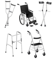 Crutches and wheelchairs vector