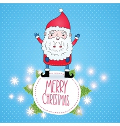 Cute cartoon Santa Claus Christmas card vector image