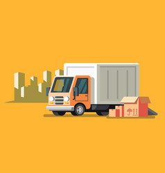 Delivery truck and fast delivery service vector
