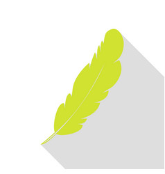Feather sign pear icon with flat vector
