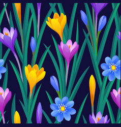 floral seamless pattern with crocuses vector image vector image