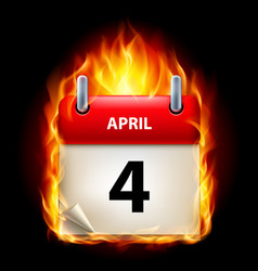 fourth april in calendar burning icon on black vector image