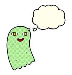 funny cartoon ghost with thought bubble vector image vector image
