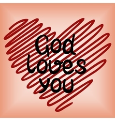 God loves you done in red heart vector