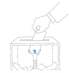 hand putting paper in ballot box during voting vector image
