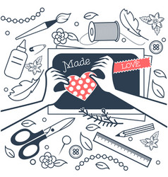 Handmade crafts workshop black and white vector