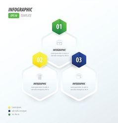 Hexagon infographic green blue yellow vector image