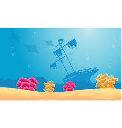 Landscape of underwater with stingray and ship vector